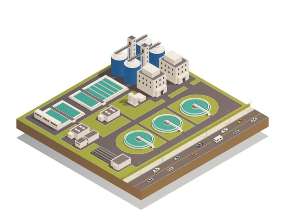 vue isométrique d'une station d'épuration