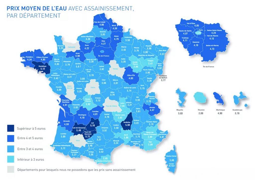 Carte de France du prix moyen de l'eau